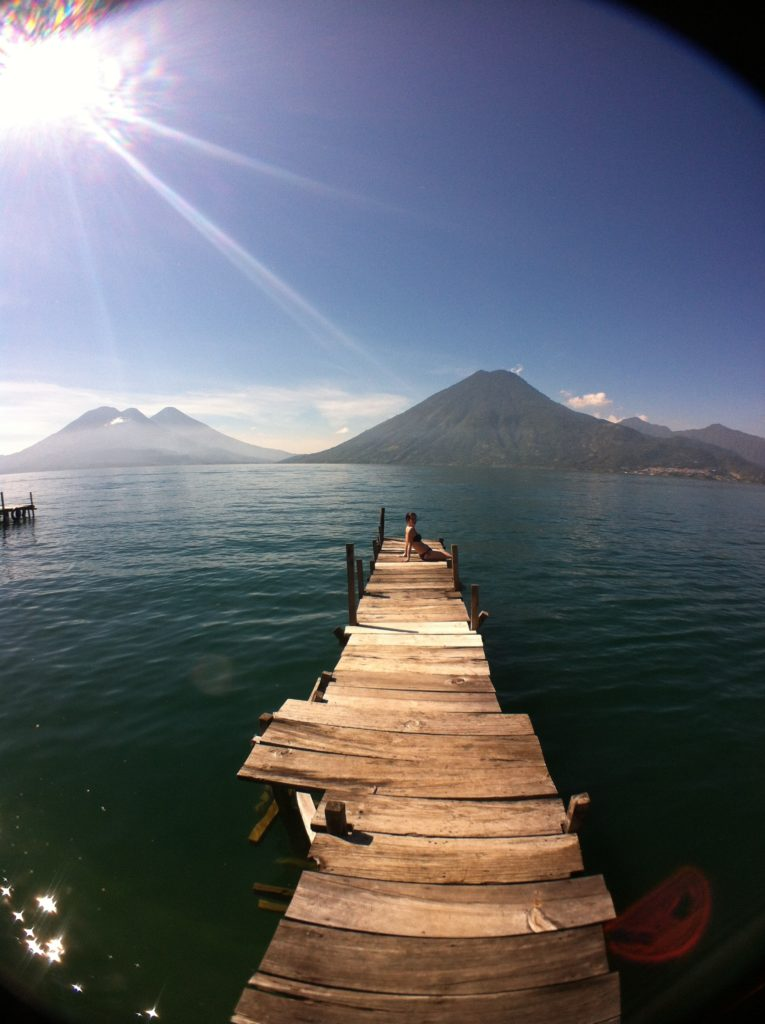 Dock on Lake Atitlan with a view of the volcanoes