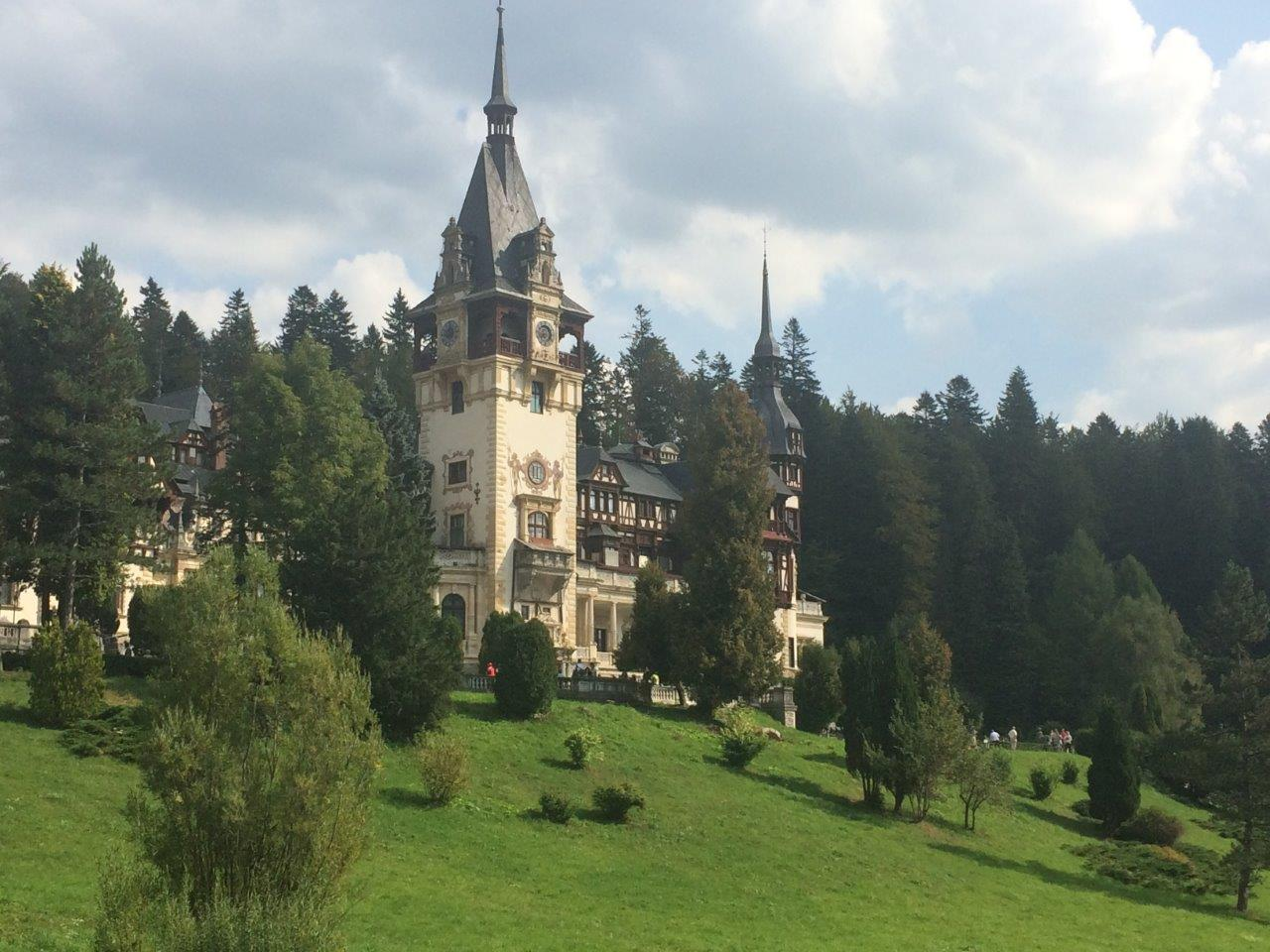 Peles Castle from the edge of the grounds