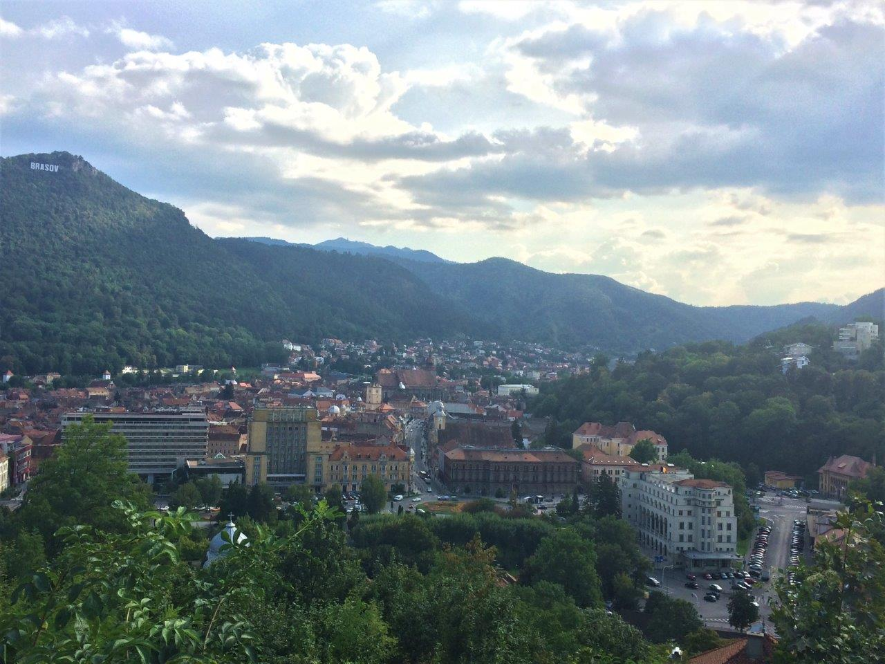 The view over Brasov Romania from the fortress