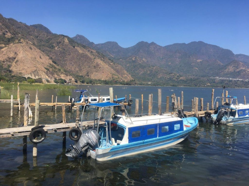 A public boat that is the most common way to get around on Lake Atitlan