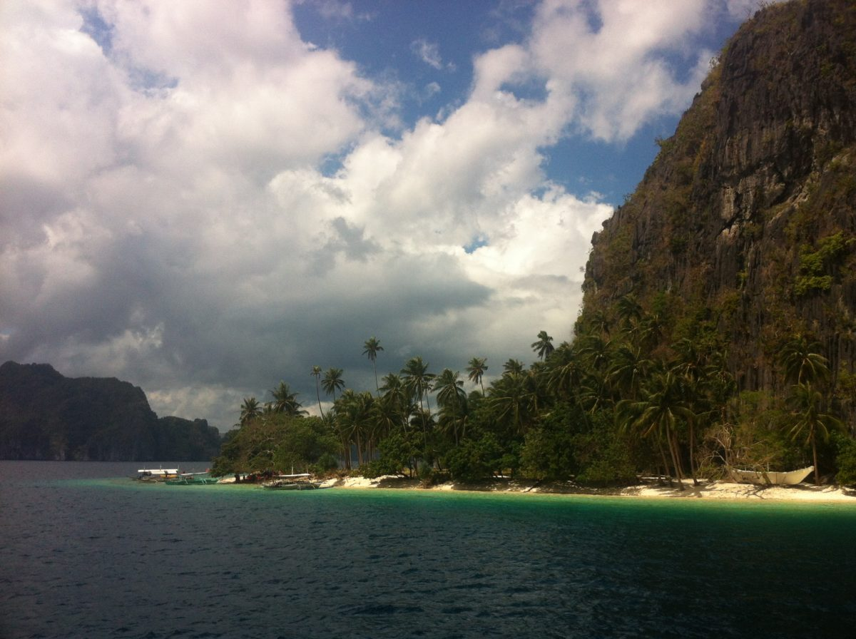 Beautiful beach on a limestone island off Palawan, Philippines