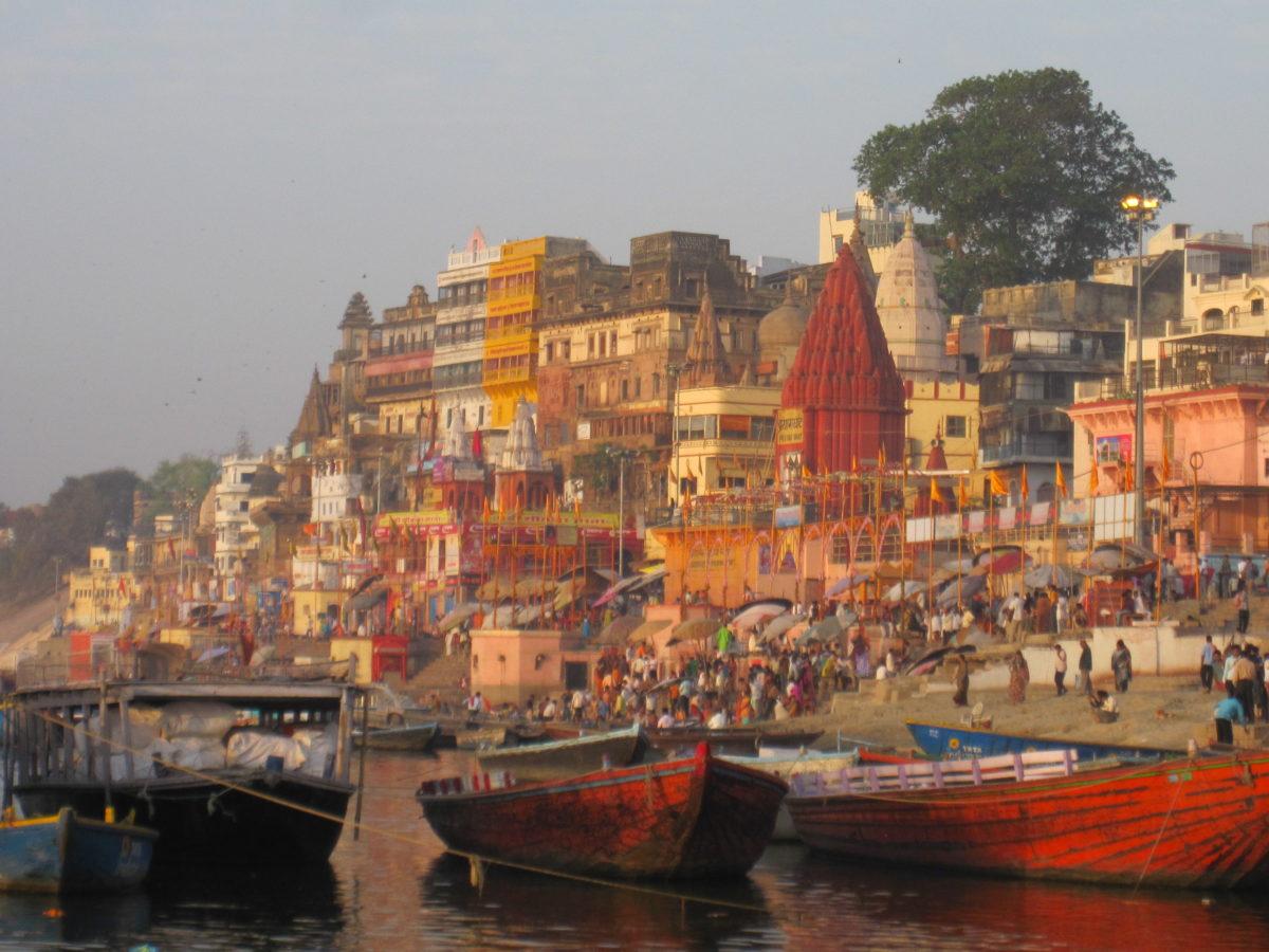 Colorful scene on the Ganges River in Varanasi