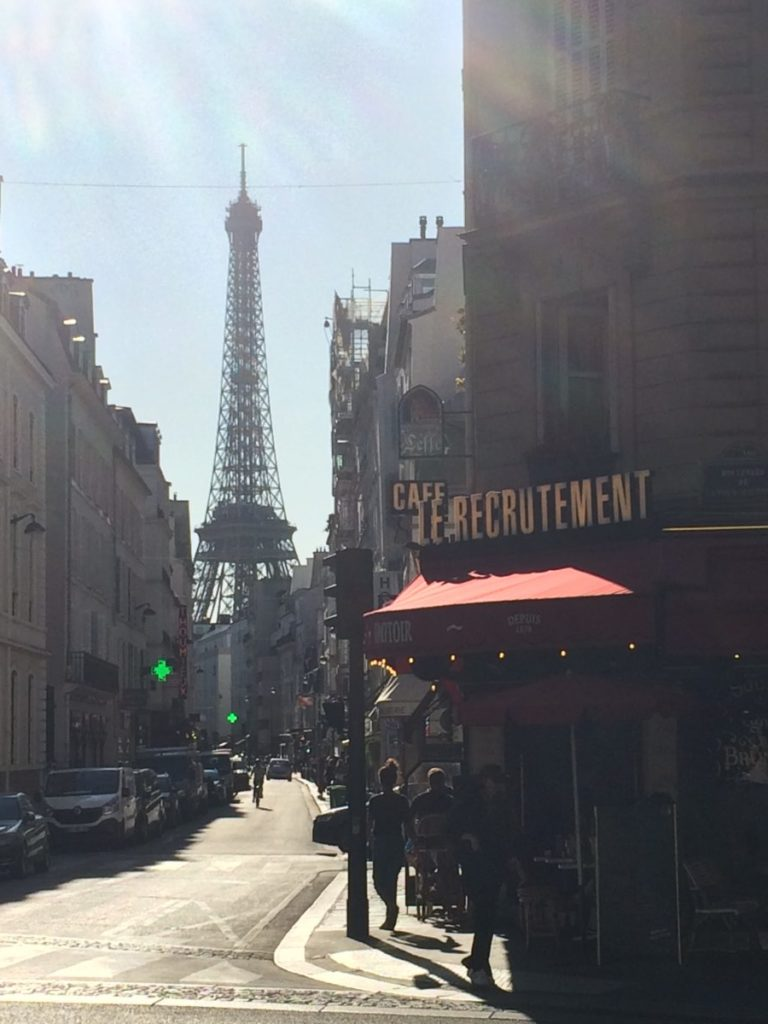 Eiffel Tower and cafe in Paris