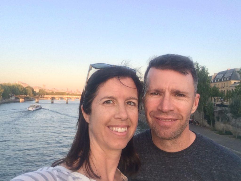 Couple on River Seine in Paris