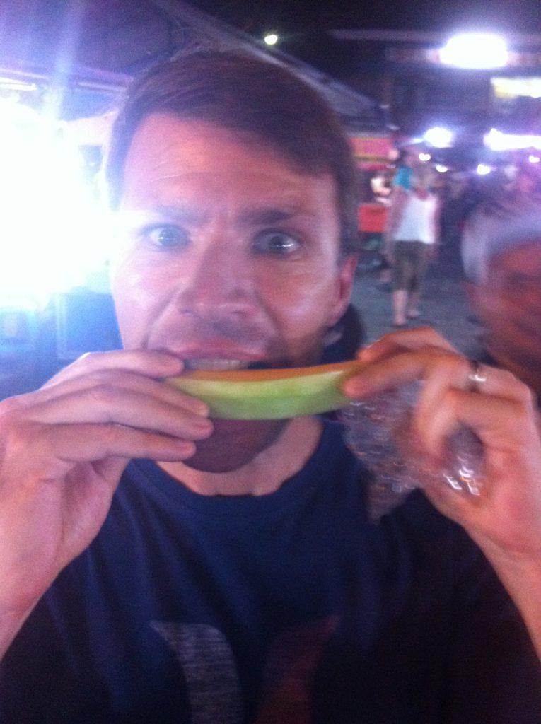 Eating, watermelon, market, fruit