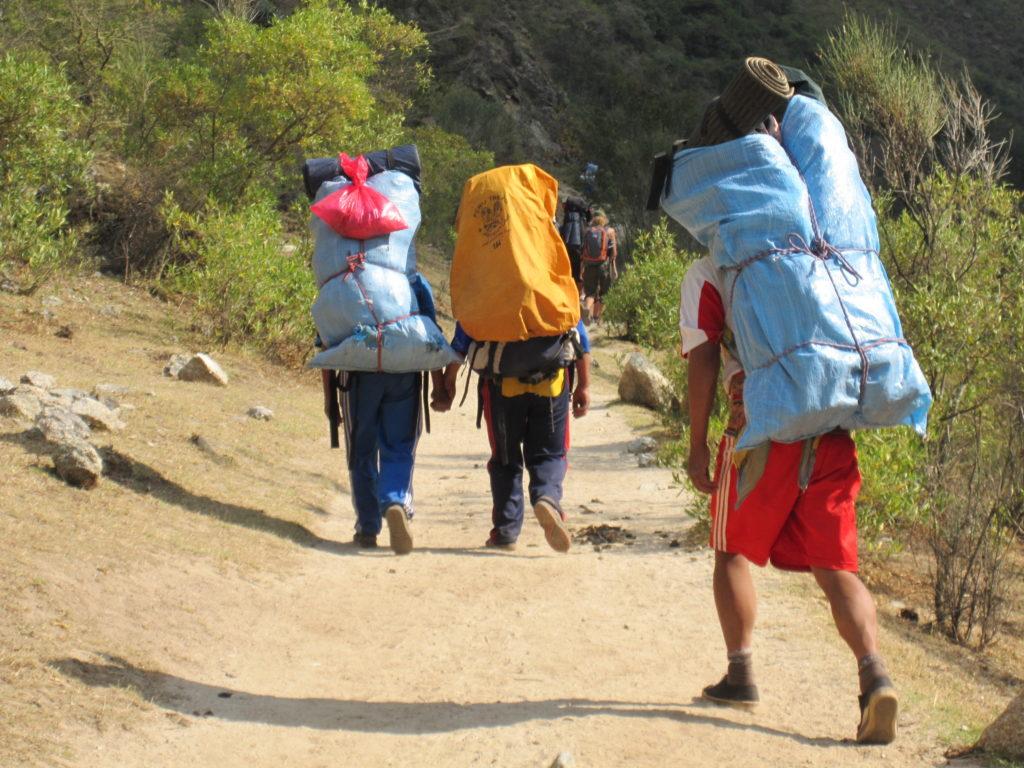 porters, backpacks, hiking, mountains, Peru, Macchu Picchu