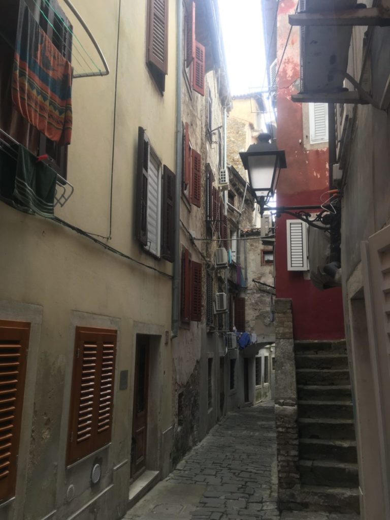 The narrow streets of the Piran Slovenia old town