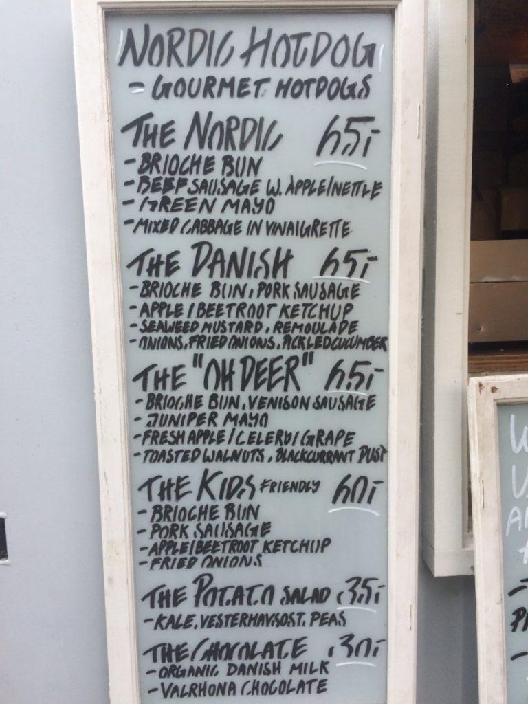 Danish hot dog menu