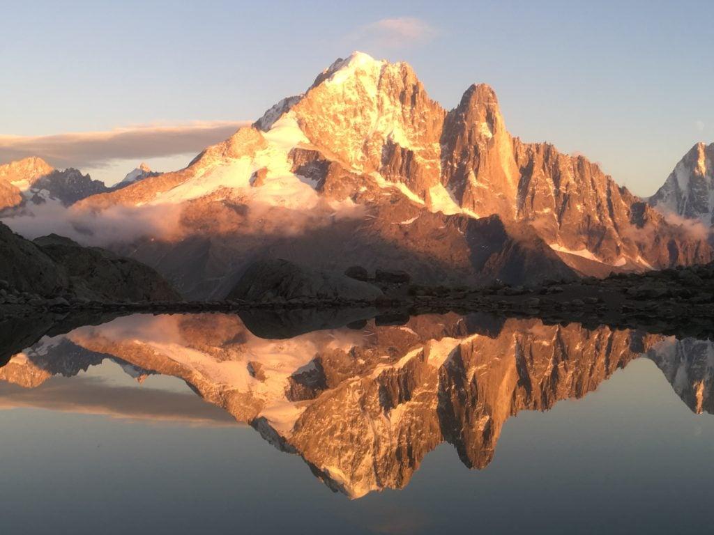 Lake reflection of Mont-Blanc massif