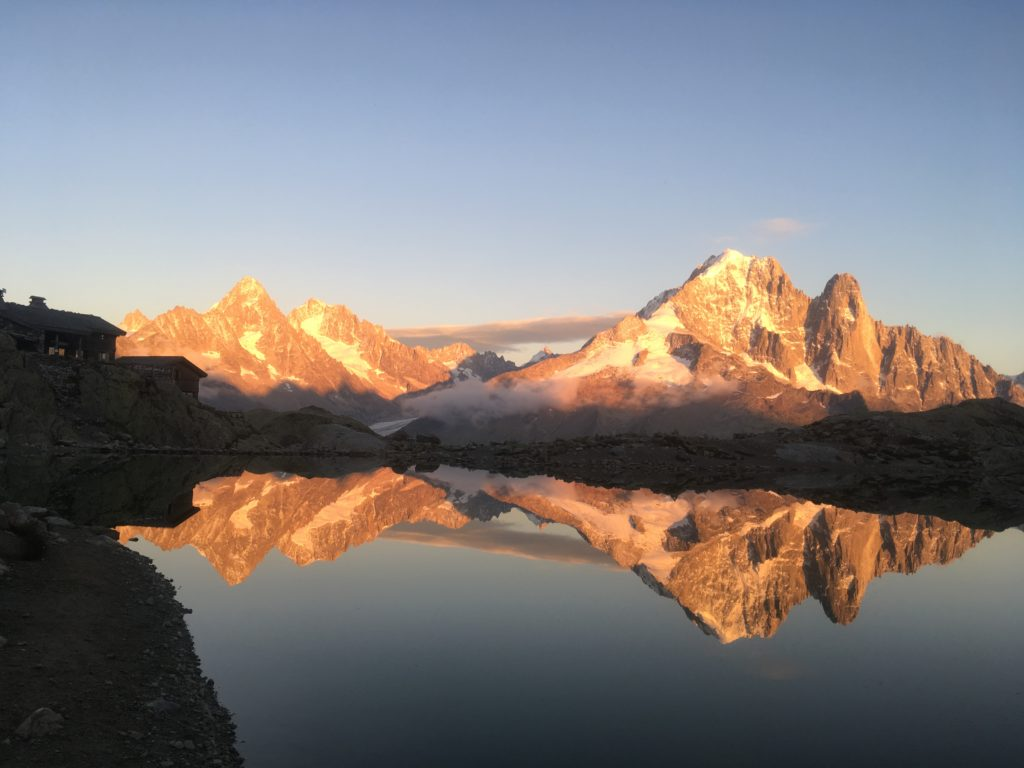 Reflection of mountains on Lac Blanc