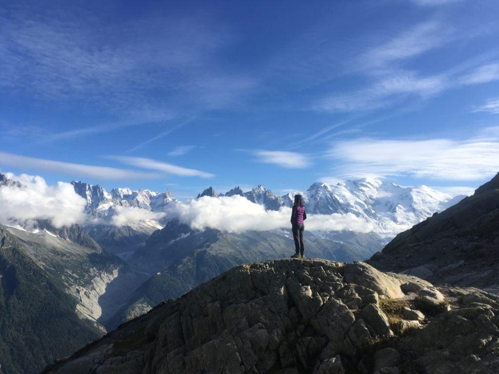 Woman overlooking Mont Blanc