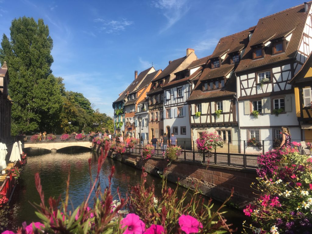 Canal and flowers in Le Petit Venice, Colmar