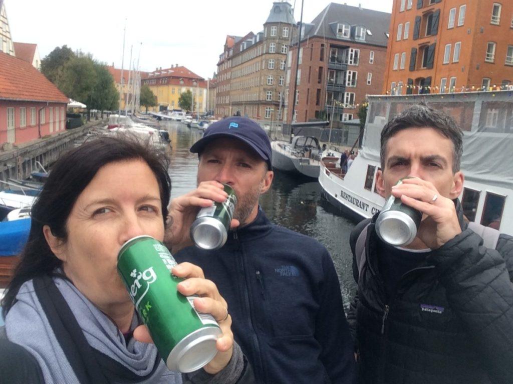 People drinking beer on the street in Copenhagen