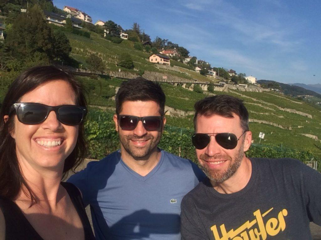 People in Swiss vineyard