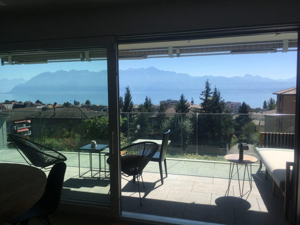 Balcony overlooking Lake Geneva