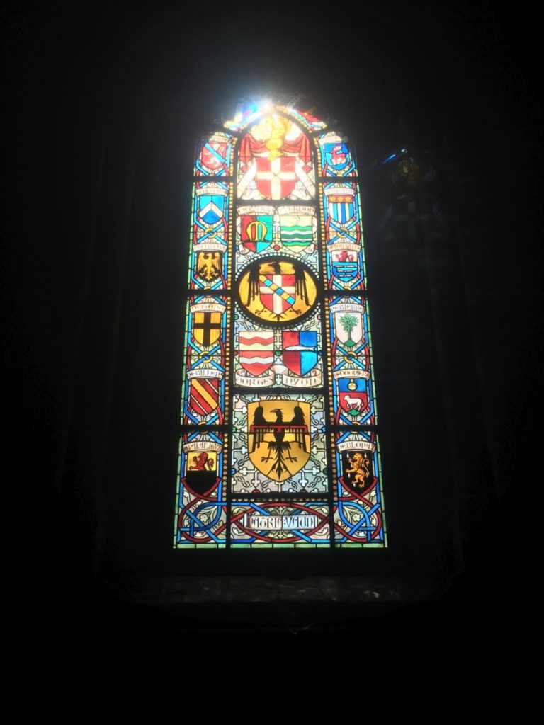 Stained glass in cathedral in Lausanne