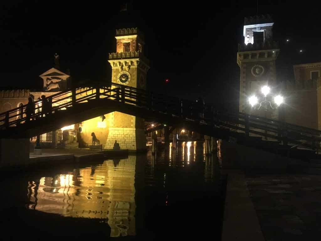 Venice bridge at night