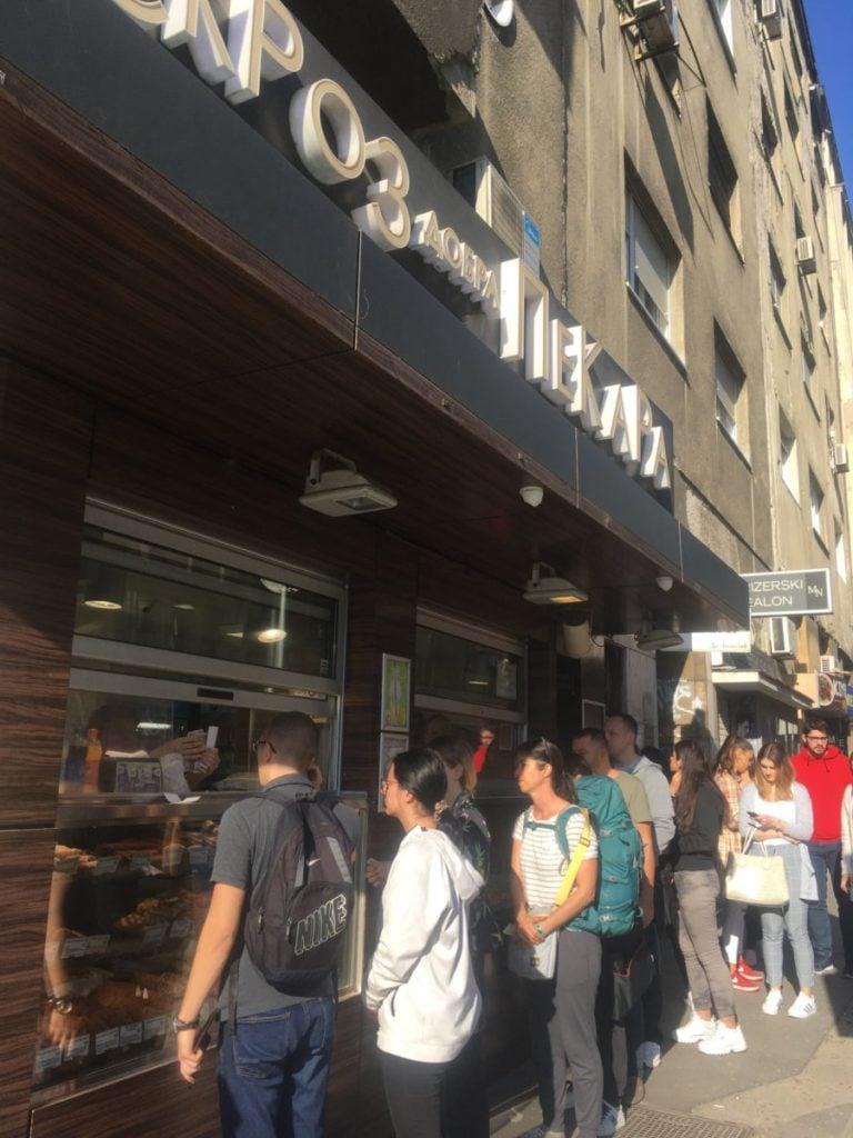 Line in front of bakery in Belgrade