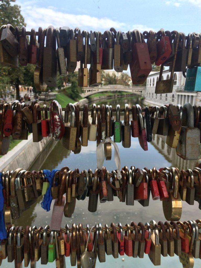 Love locks on Butcher's Bridge in Ljubljana