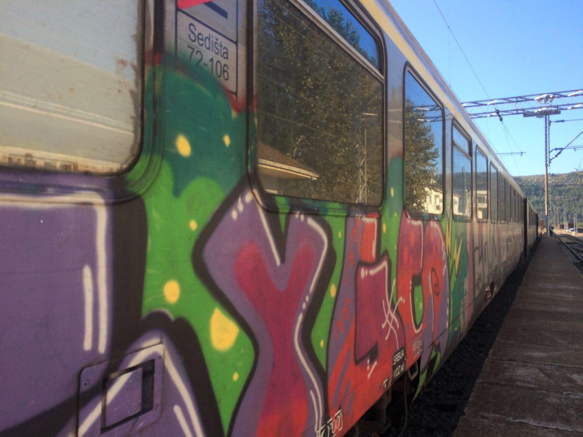 Serbian train painted with graffiti