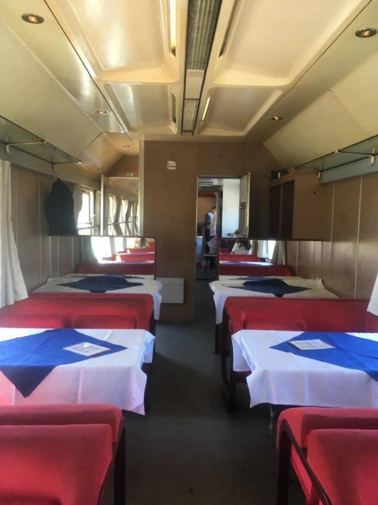 Dining car on train from Bar to Belgrade