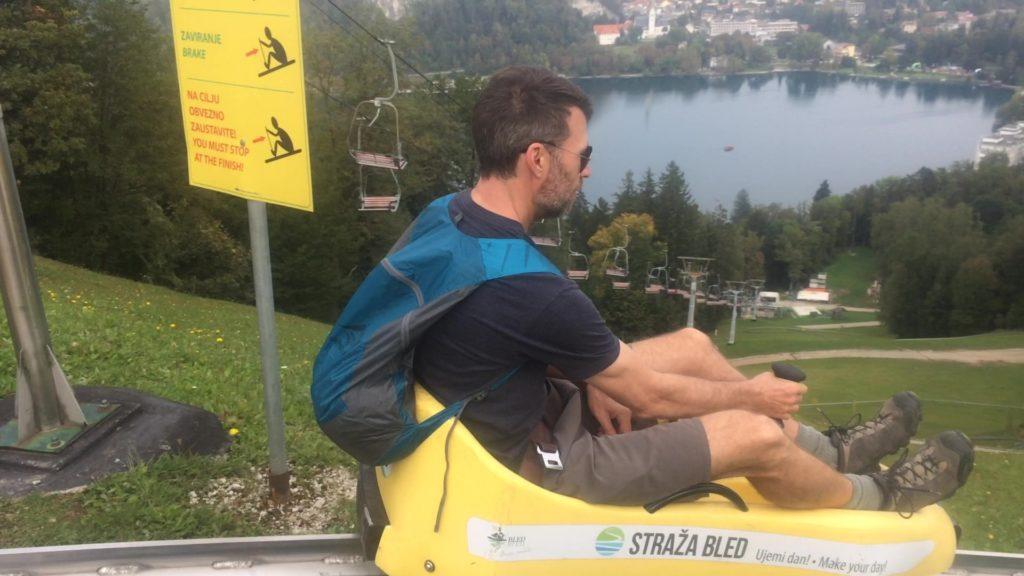 Tobogganing down the Straza, Lake Bled.