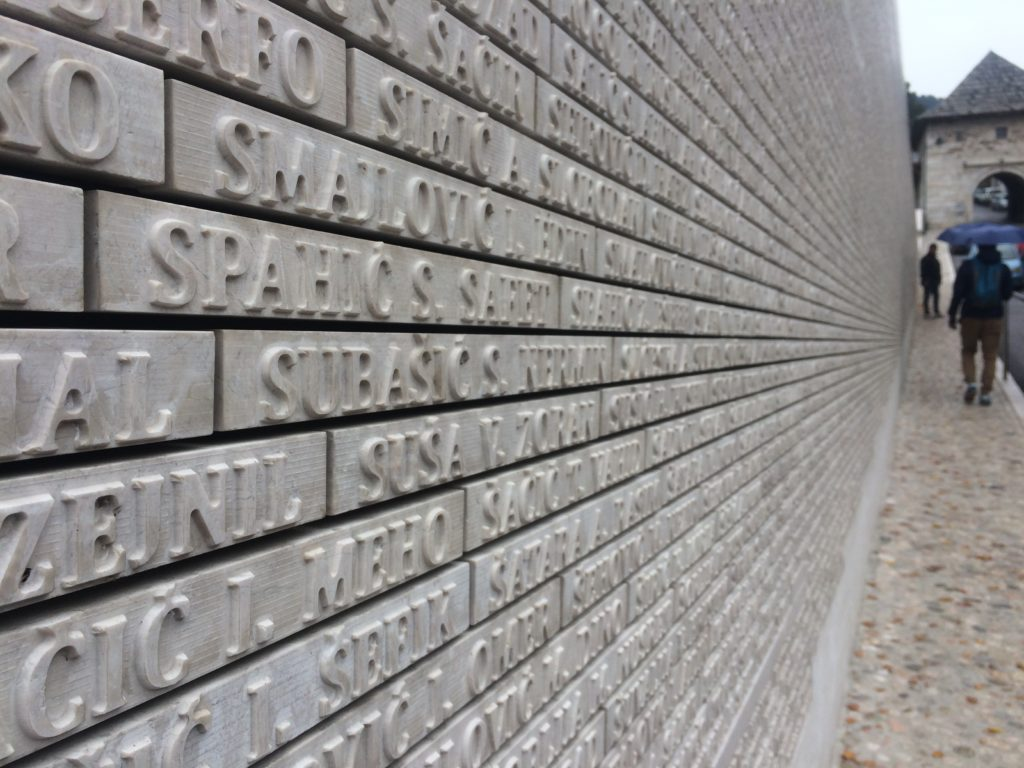 Memorial wall of those who died in Bosian War