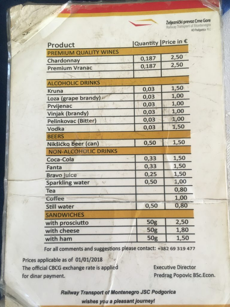 Menu on the train from Bar to Belgrade