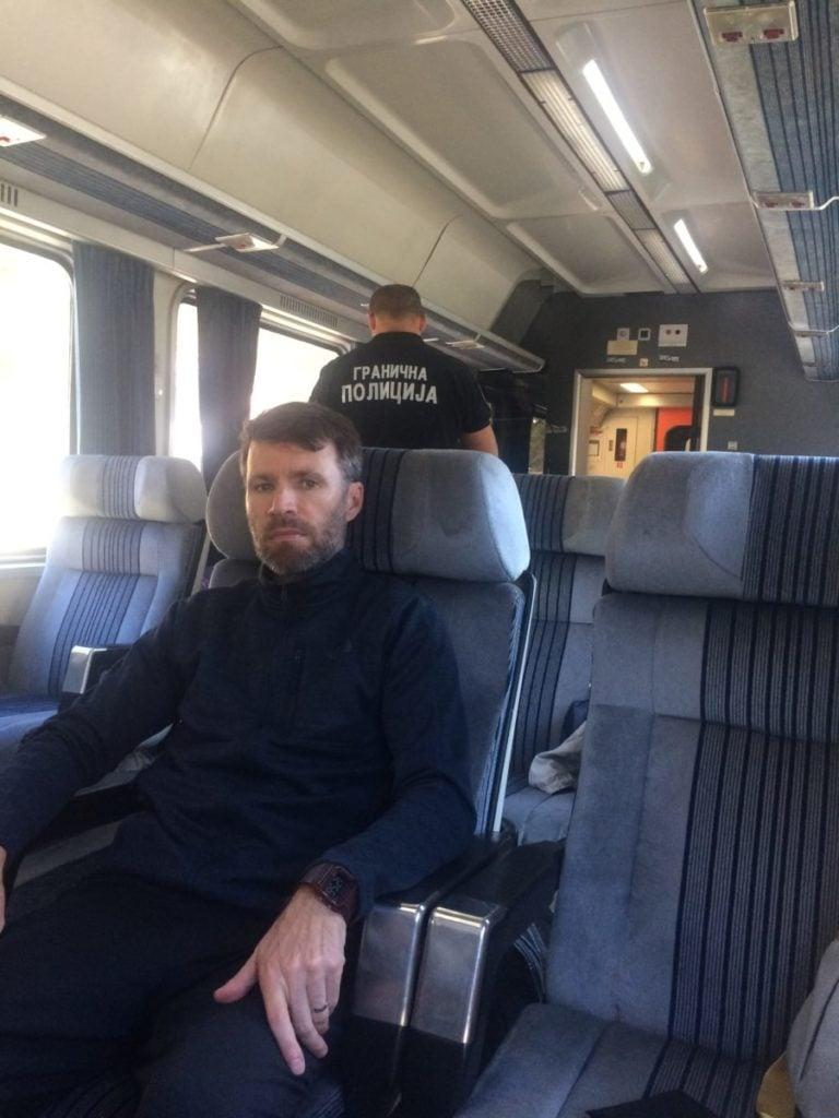 Border officer on train from Bar to Belgrade