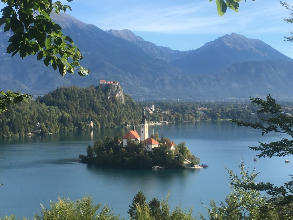 View of Bled Island from the trail up to Mala Osojnica