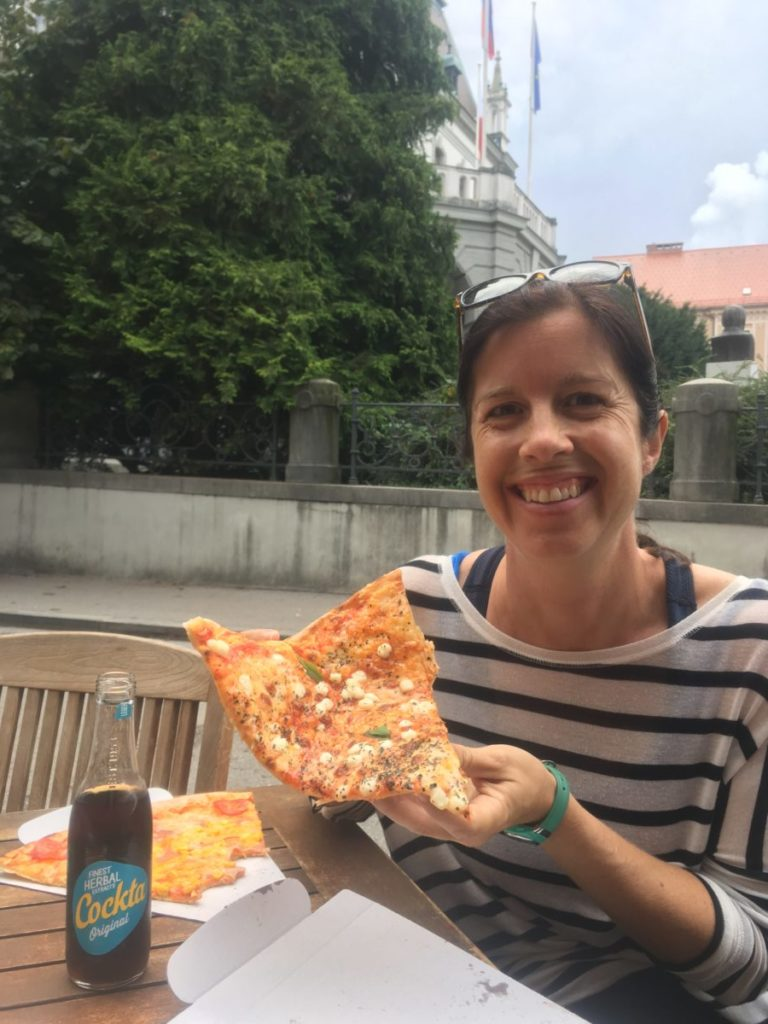Pizza and Cockta in Ljubljana