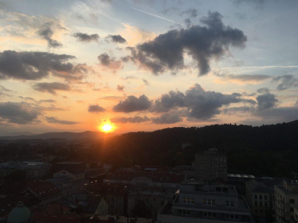 Sunset over Tivoli Park in Ljubljana