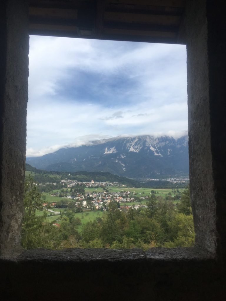 View of valley from inside Bled Castle