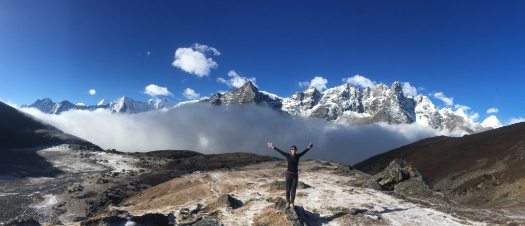Woman hiking the Everest Region of Nepal