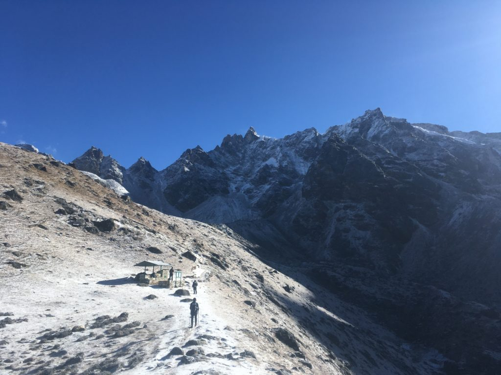 Hikers climbing to Renjo La, Nepal