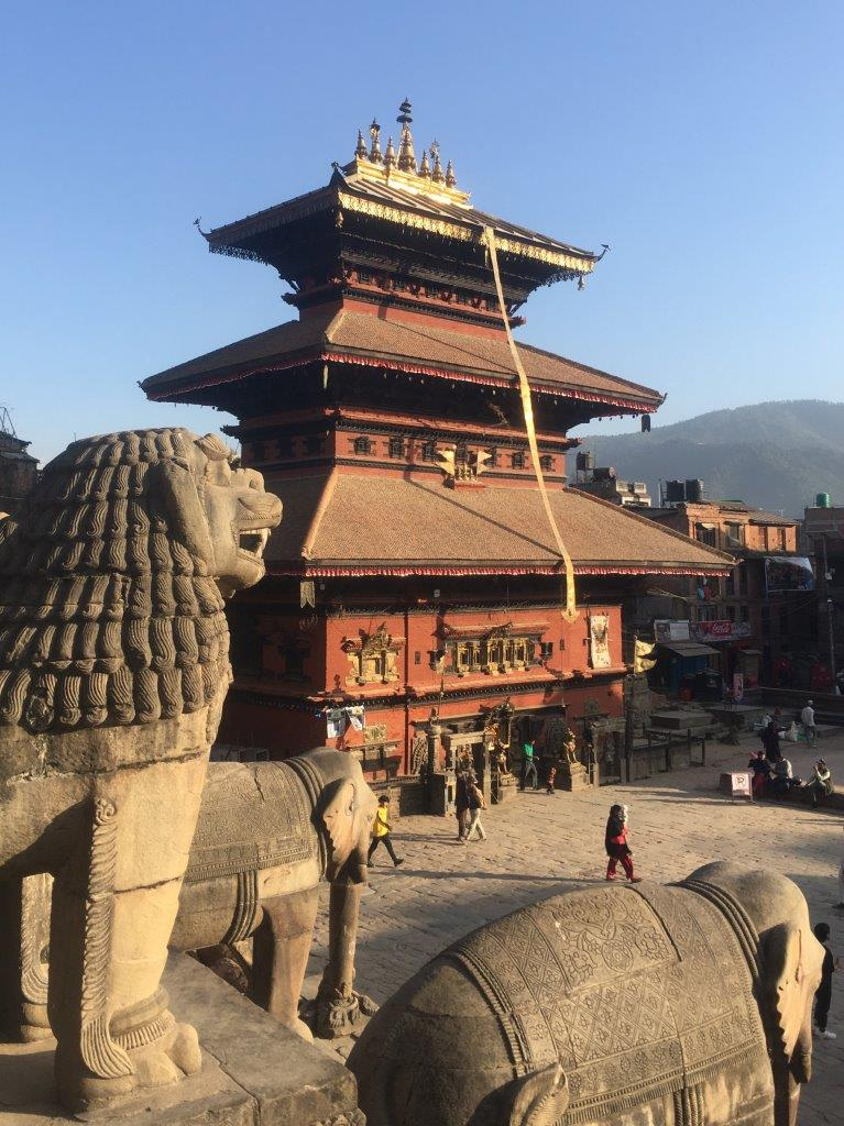 Sculptures and pagoda in Taumadhi Square, Bhaktapur, Nepal