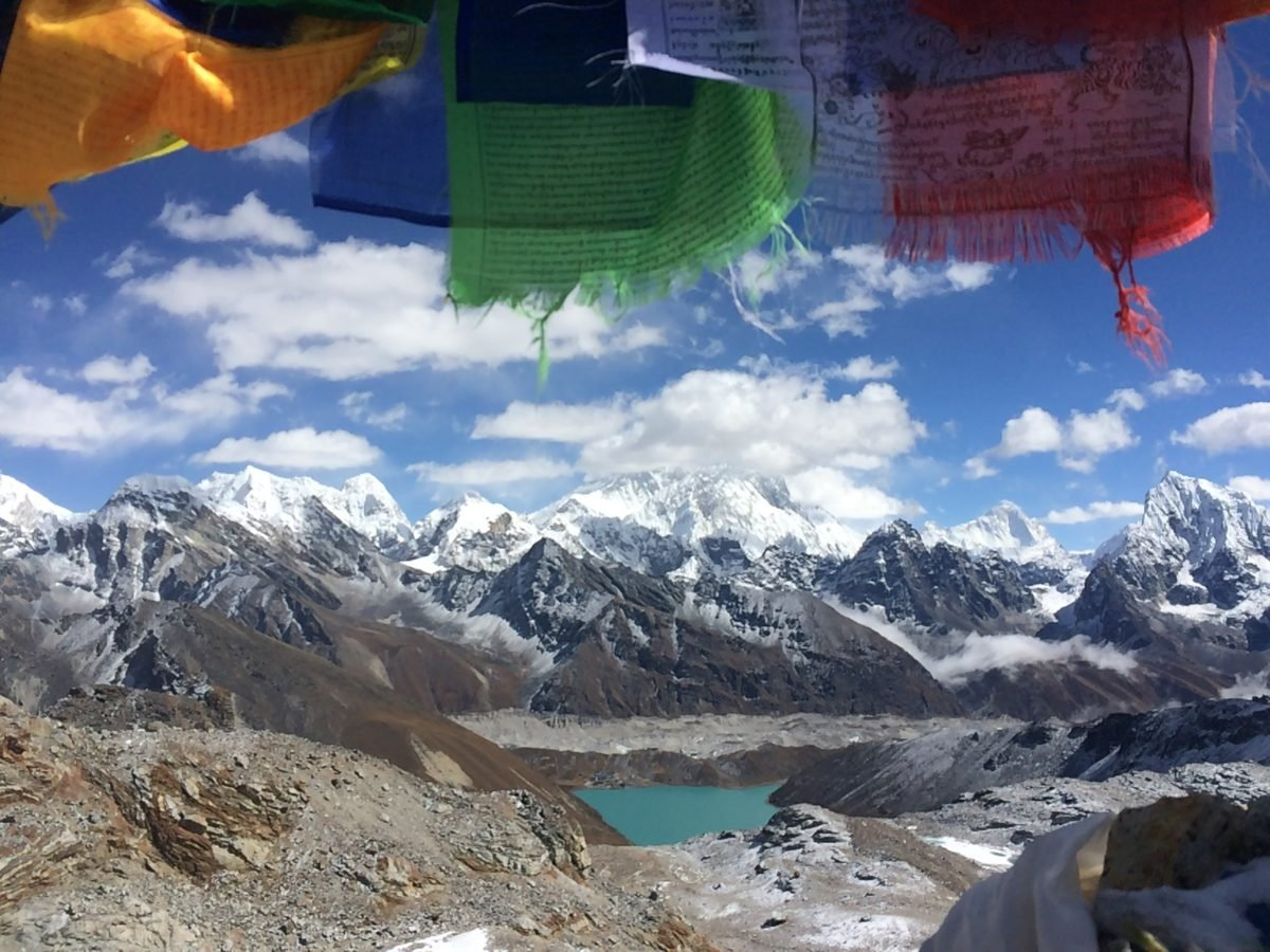 Prayer flags at Renjo La, Nepal