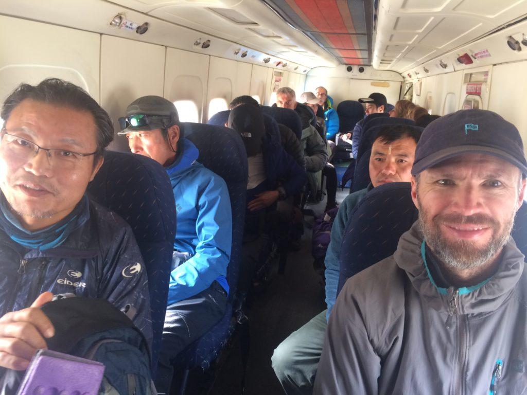 Inside a Sita Air plane in Lukla, Nepal