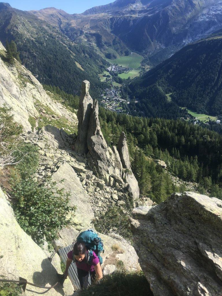 Tour du Mont Blanc ladder route to Lac Blanc