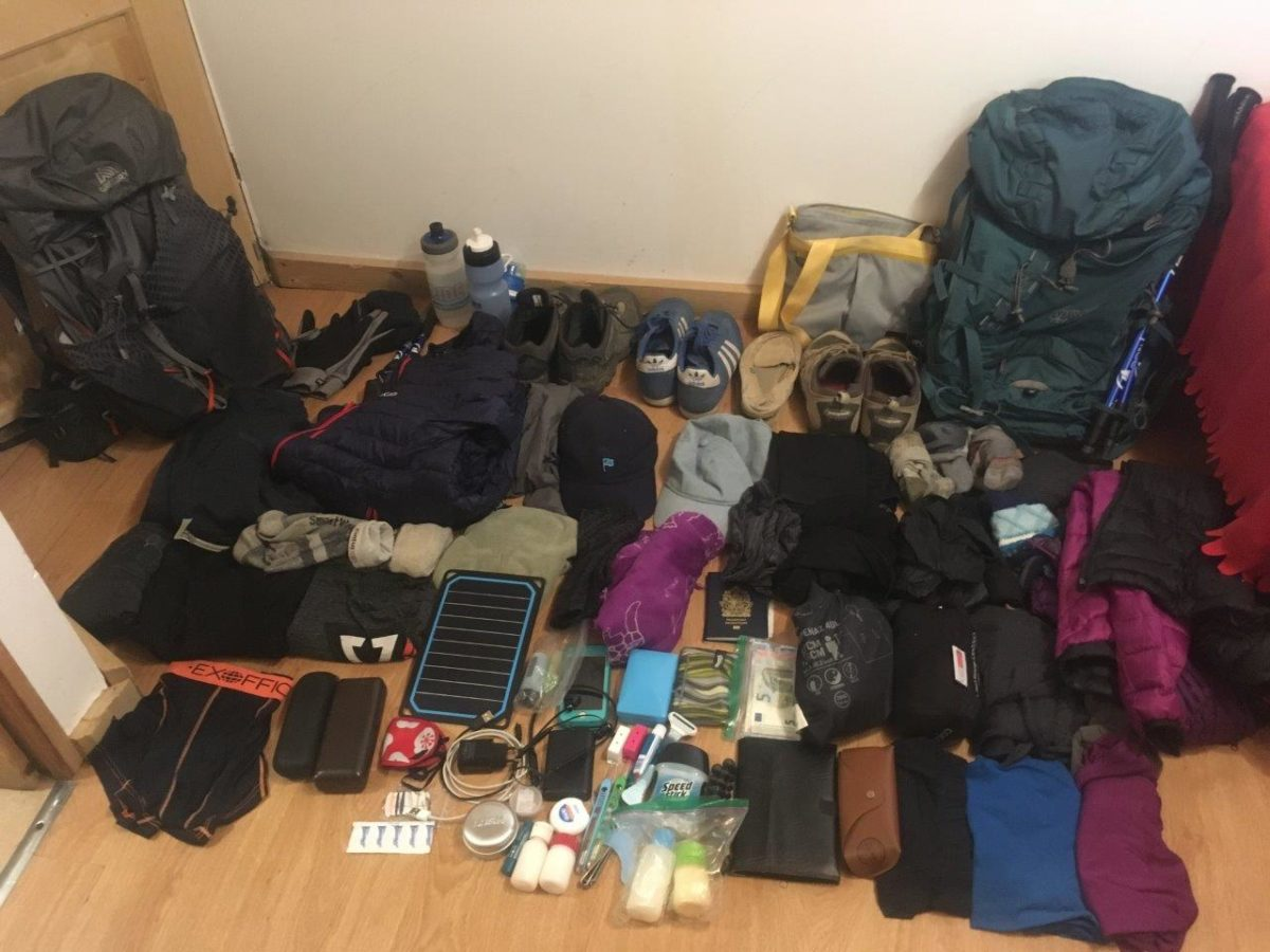 All the items of a tour du mont blanc packing list spread out on the floor
