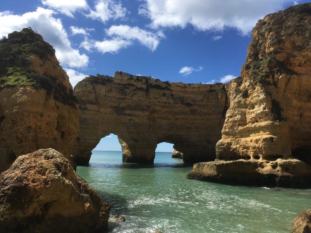 Rock arches at Praia da Marinha Algarve Portugal