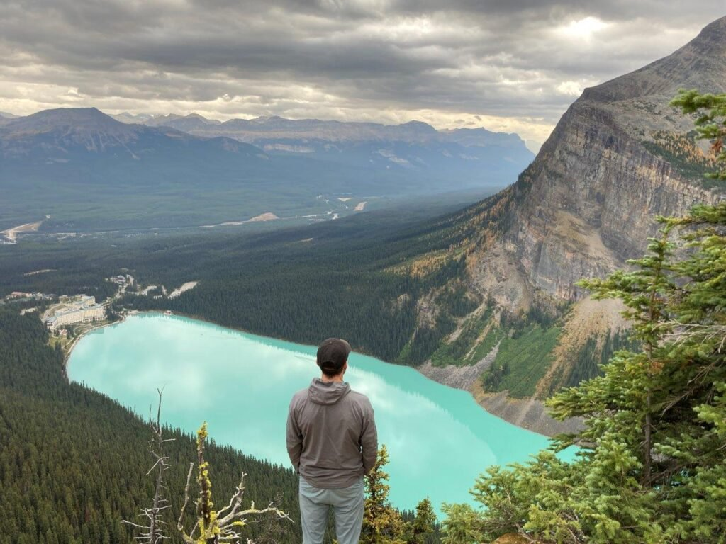 View of Lake Louise from Big Beehive  viewpoint on one of the best hikes Canmore offers