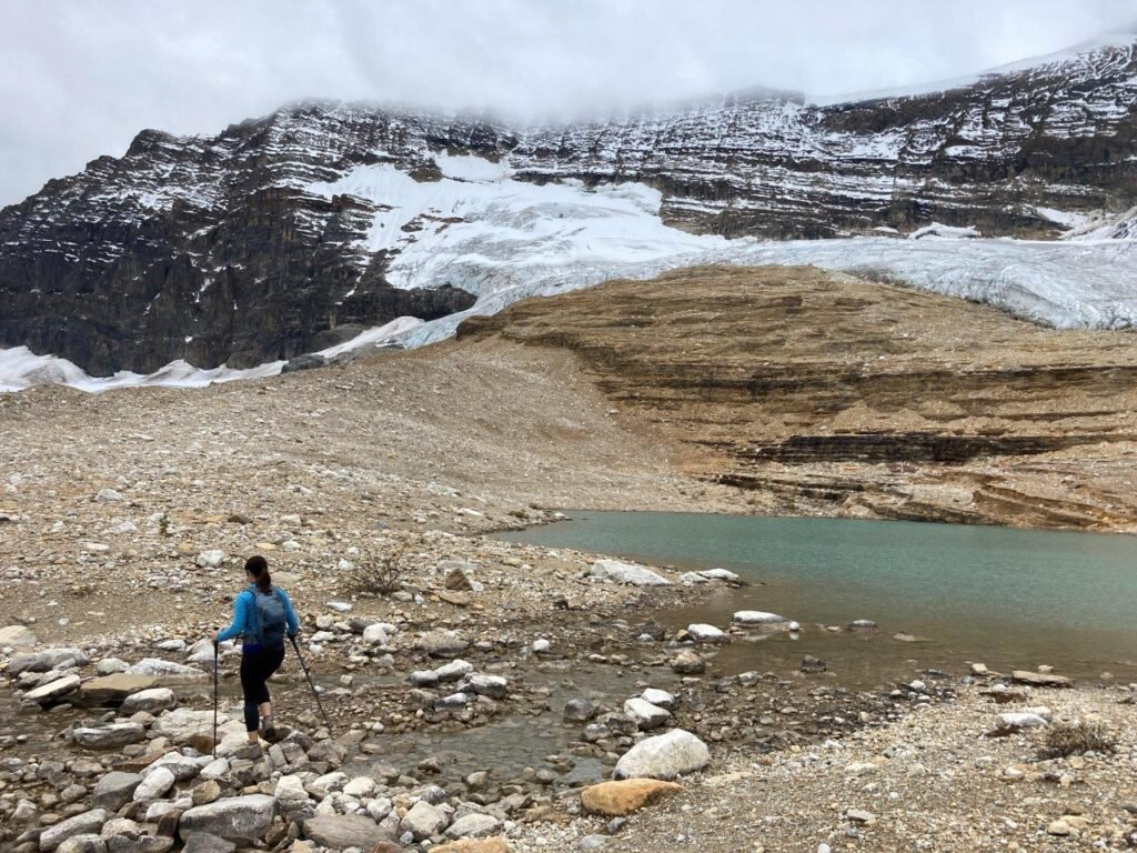 Alpine lake with glacier and mountain behind on one of the best hikes Canmore has