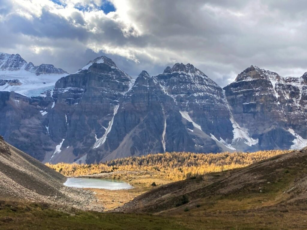 View of Larch Valley from Sentinel Pass near Moraine Lake