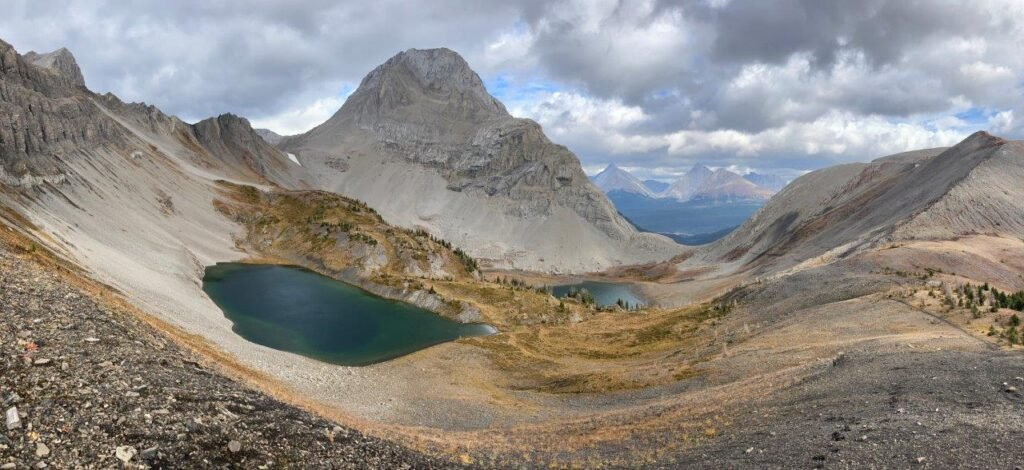View of two lakes from viewpoint from one of the best hikes Canmore, the Smutwood Peak