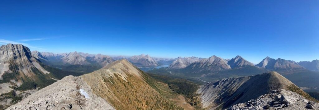 View of Spray Lakes and mountains from Tent Ridge one of the best hikes Canmore