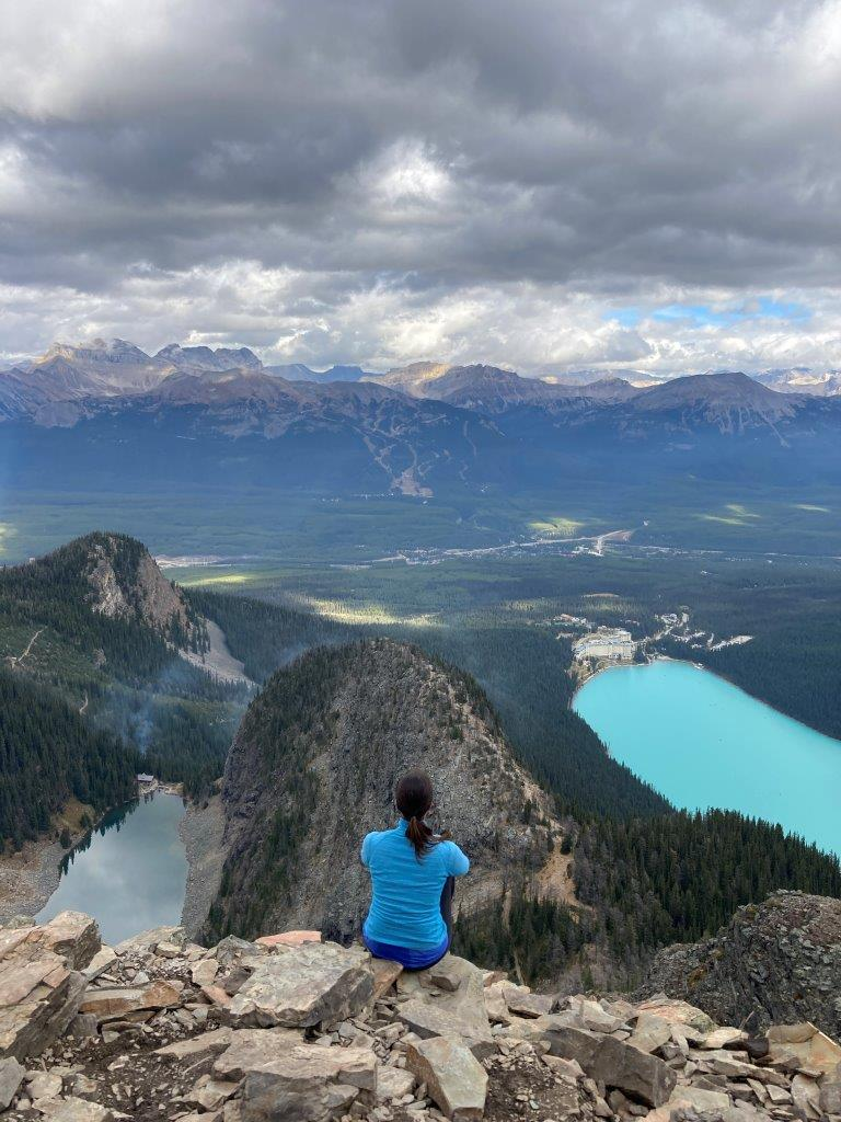 View of Agnes Lake and Lake Louise on one of the best hikes near Canmore