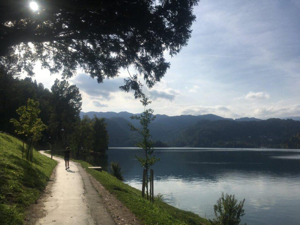 Walking around Lake Bled on the lakeshore path