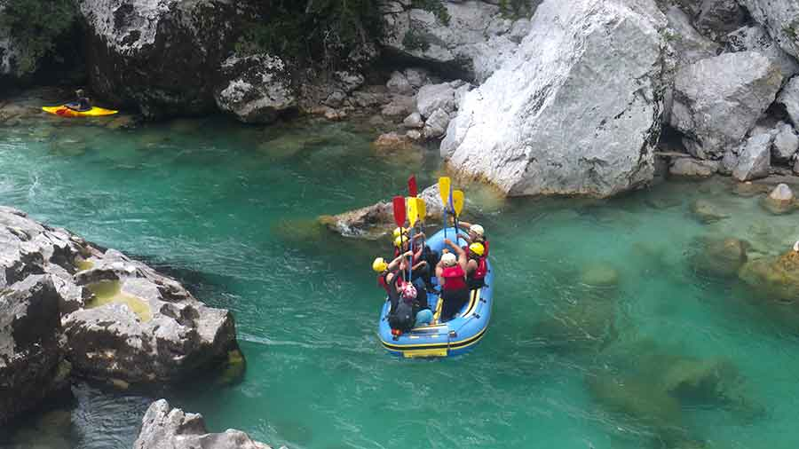 White water rafting on the Soca River near Bovec