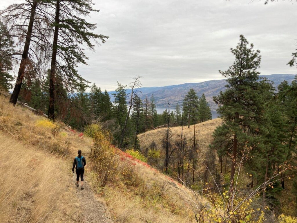 Woman hiking on Gladstone Trail in Peachland British Columbia